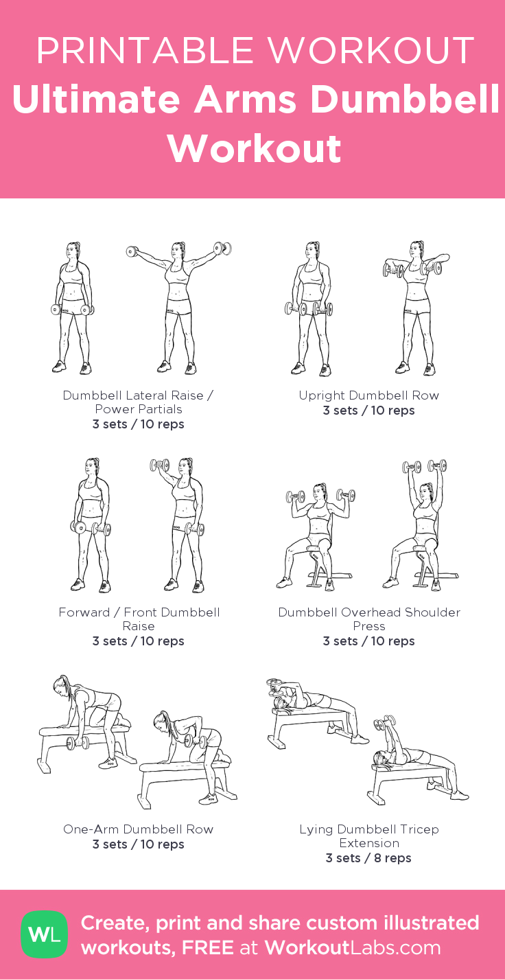 Ultimate Arms Dumbbell Workout – my custom workout created at WorkoutLabs.com • Click through to download as printable PDF! #customworkout #beginnerarmworkouts