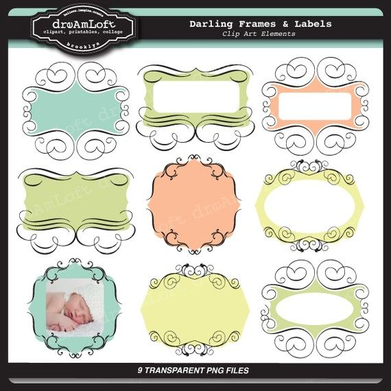 Darling Frames and Labels Clipart Elegant style frame by DreAmLoft, $4.99