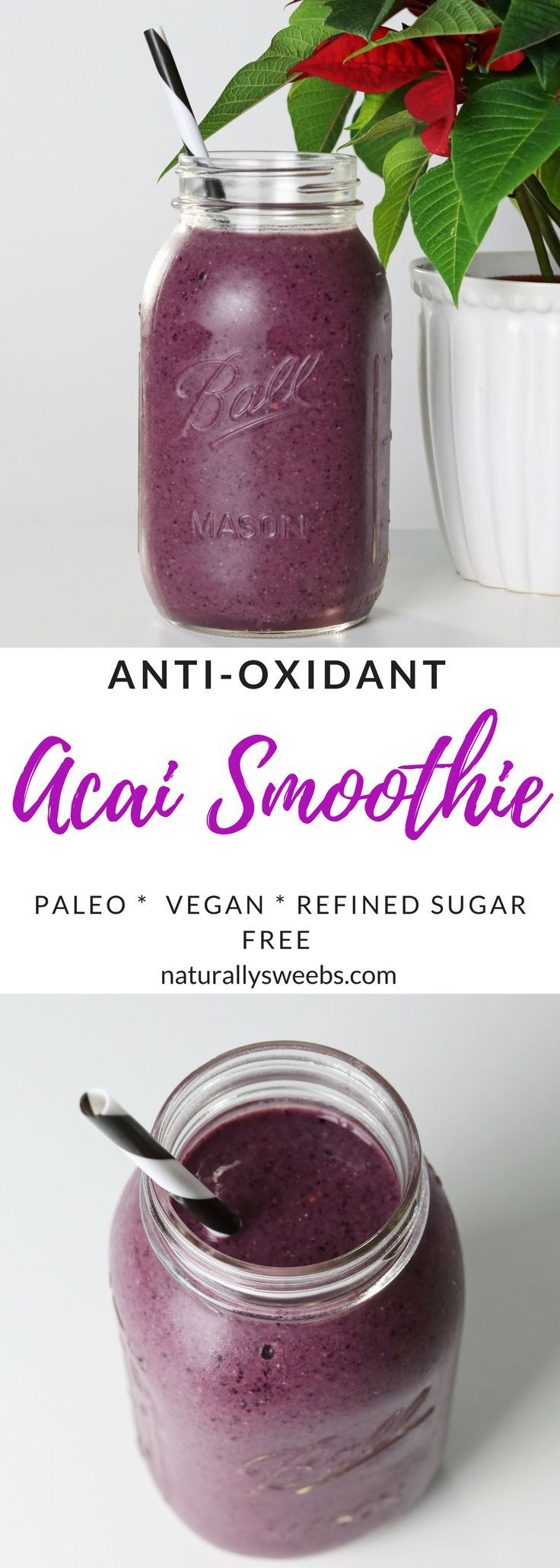 Fat blasting acai smoothie, made with very simple ingredients. Packed with protein and anti-oxidant properties. Great for any meal! #healthy #smoothie #acai #fatloss
