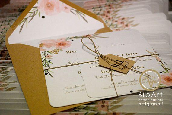 Partecipazioni Matrimonio 1 Euro.Partecipazione Nozze Stile Floreale Shabby Shic Composto Da 1