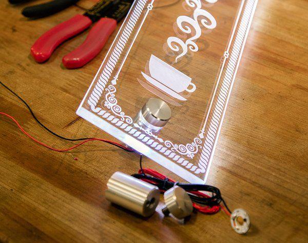 Led Standoffs Illuminate Laser Etched Plex Signage
