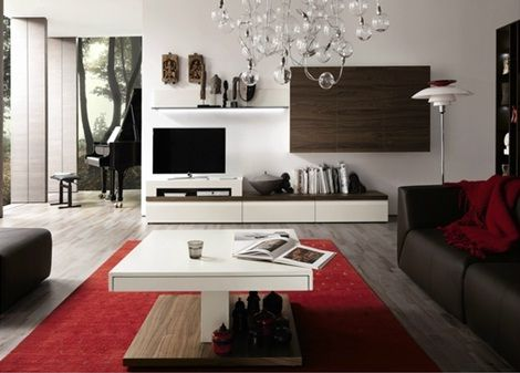 Salas modernas color chocolate y rojo buscar con google for Paredes decoradas con madera