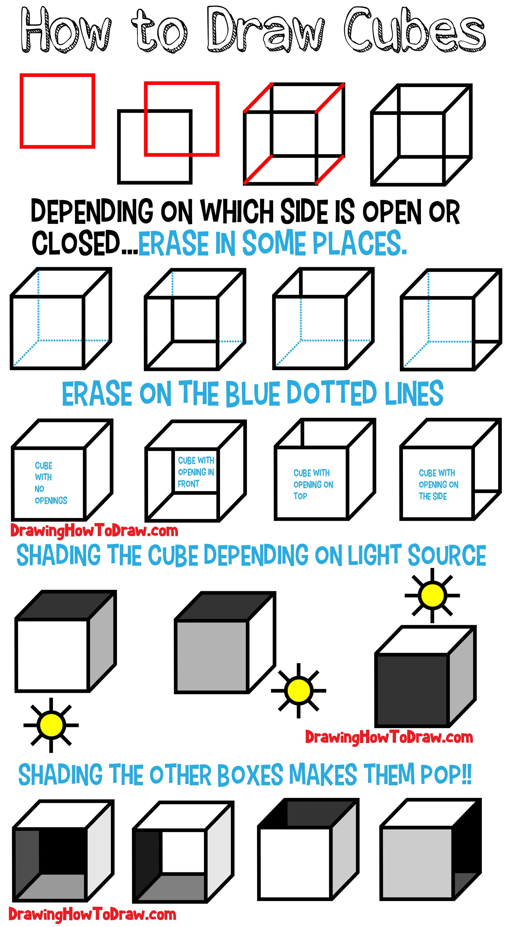 How To Draw A Cube Shading Drawing Cubes And Boxes From Different Angles How To Draw Step By Step Drawing Tutorials Shading Drawing Drawing For Beginners Perspective Drawing Lessons