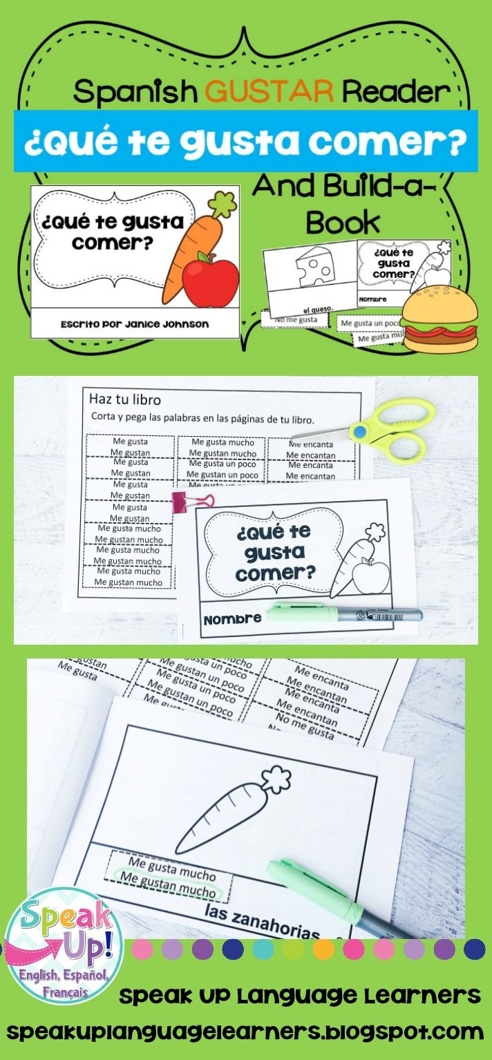 Que Te Gusta Comer Spanish Gustar Food Reader Build A Book Learn French How To Speak French French Emergent Readers [ 1534 x 712 Pixel ]