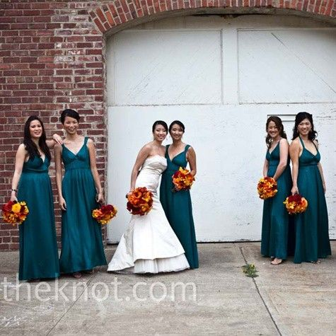 Orange Dark Teal Bridesmaid Dresses