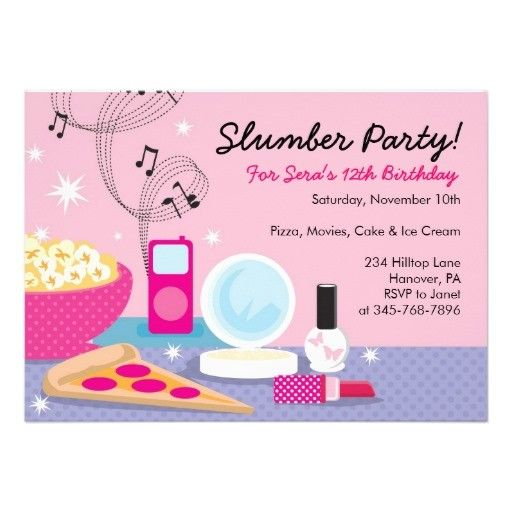 Sleepover Party Invitations Templates Free Birthday Invites Invitation Ideas