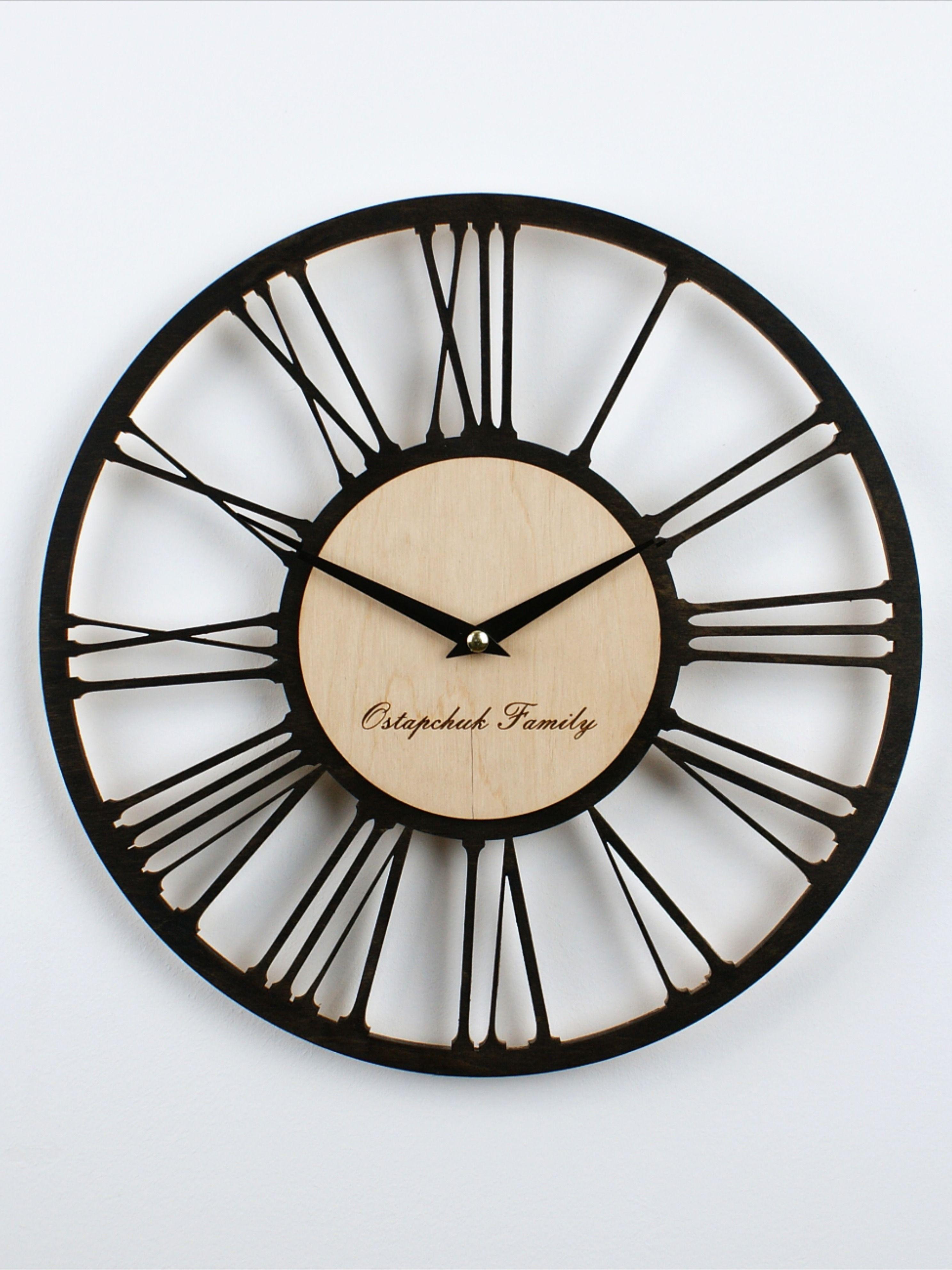 Mid Century Modern Wall Clock Personalized Wood Silent Custom Kitchen Farmhouse Minimalist Vintage Industrial Wooden Round 10 12 14 16 Inch In 2020 Mid Century Modern Wall Clock Clock Wall Clock