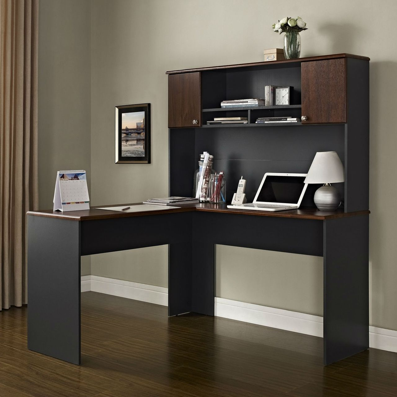 L Shaped Office Computer Desk With Hutch In Slate Grey And Cherry Wood Finish Quality House