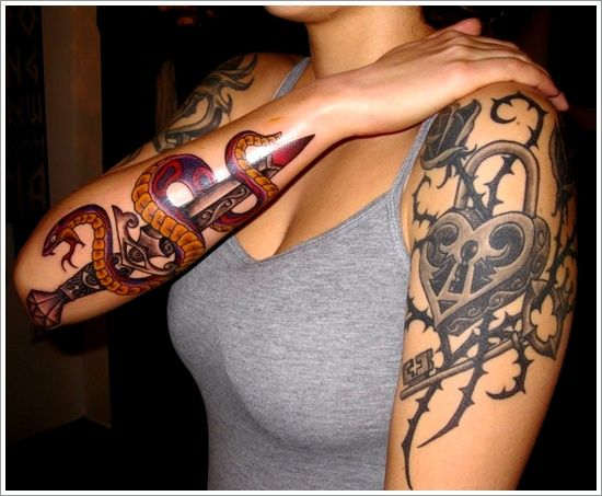 The Sword And Snake Tattoo Designs And Meaning For Girl On Arm