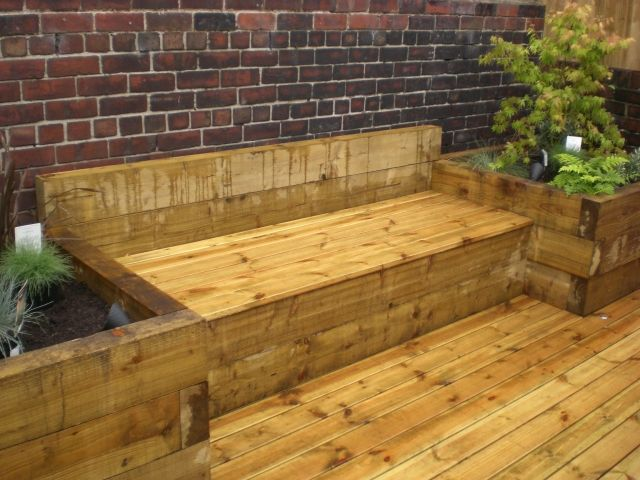 Sheffield landscapers railway sleepers raised beds sleeper for Garden design using railway sleepers