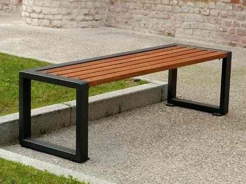 Banca madera metal jardin parque decoracion mesa comoda for Bancas para jardin de madera