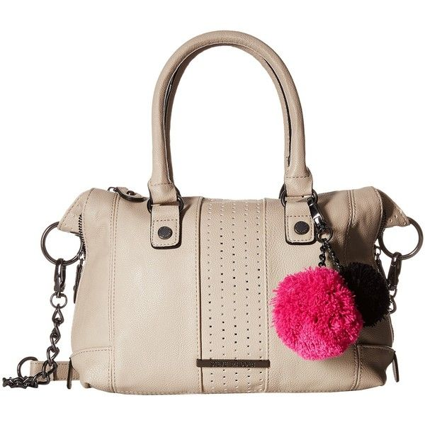 78b5403527 Steve Madden Mini Social with Pom Poms (Bisque) Satchel Handbags ($30) ❤  liked on Polyvore featuring bags, handbags, beige, hand bags, mini handbags,  ...