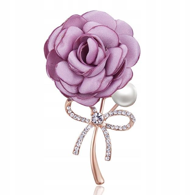 Broszka Kwiat Pudrowy Roza W Zlocie 8517441449 Oficjalne Archiwum Allegro Fabric Flower Brooch Lapel Flower Cloth Brooches