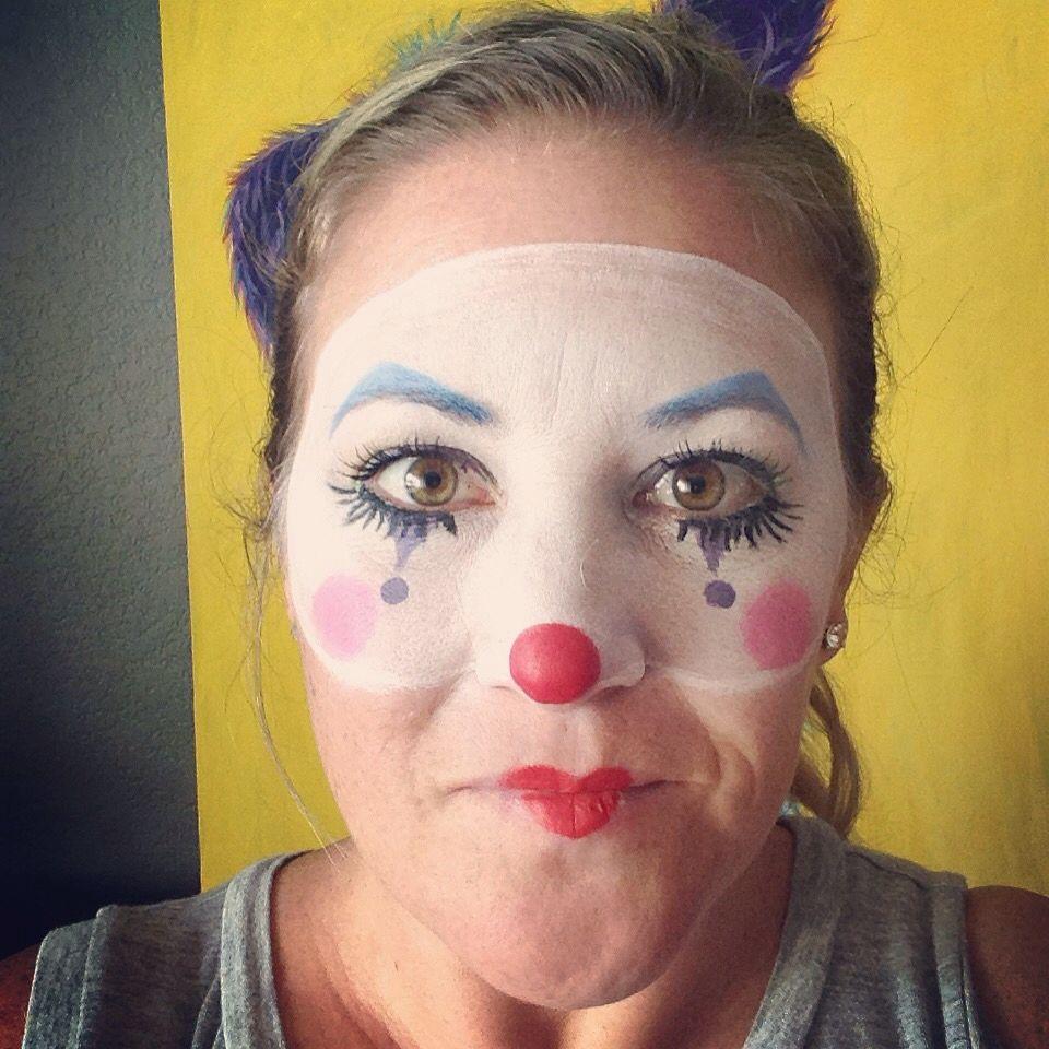 Fun, easy, half clown mask, cute, not scary, happy. My