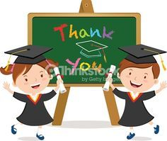 Vector Art : Graduation kids with board isolated