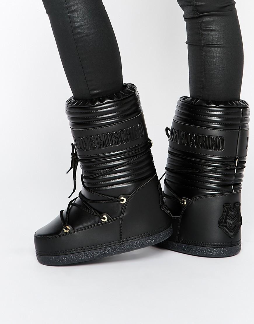 929e9680186 Love Moschino Black Leather Snow Boots