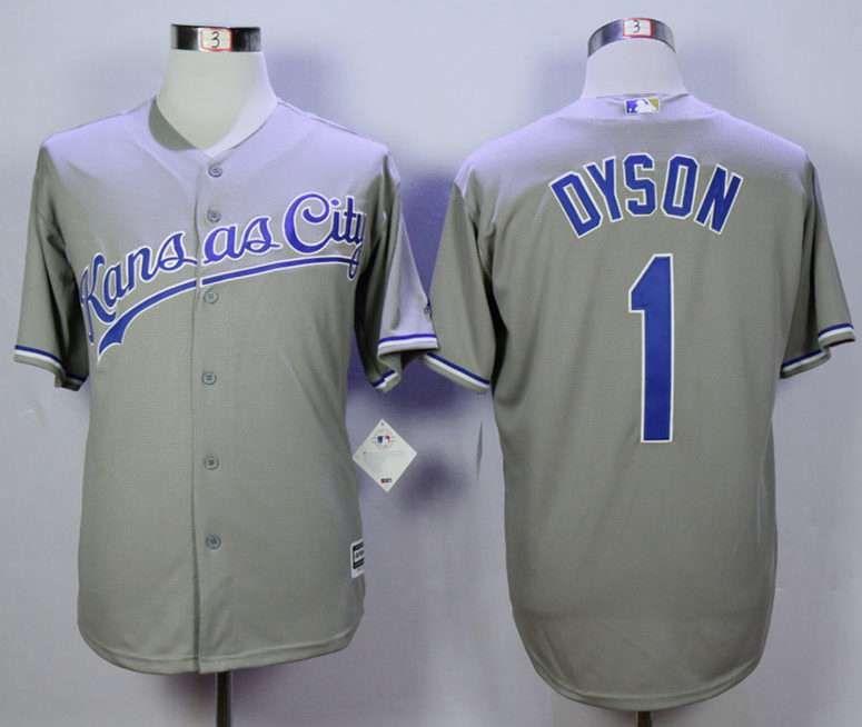 Men's Kansas City Royals #1 Jarrod Dyson Grey New Cool Base Jersey