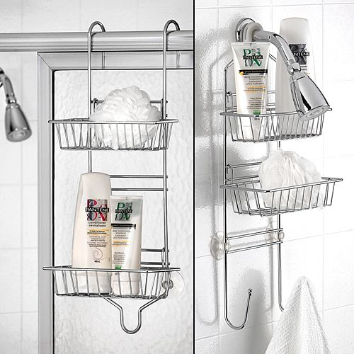 New Aluminium Shower Caddy Organiser Storage Rack Over Shower-head Shelf