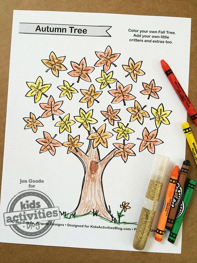 Free Kids Printable Fall Tree Coloring Page | Coloring Pages | Pinterest
