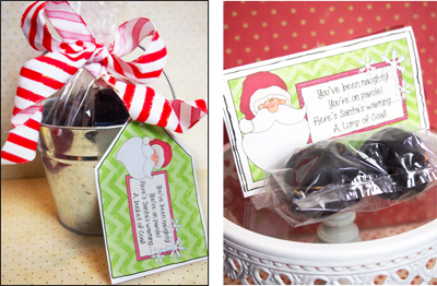 Such a cute Christmas idea--a bucket of coal as a warning from Santa! I can think of a couple friends and neighbors to make this for :-)