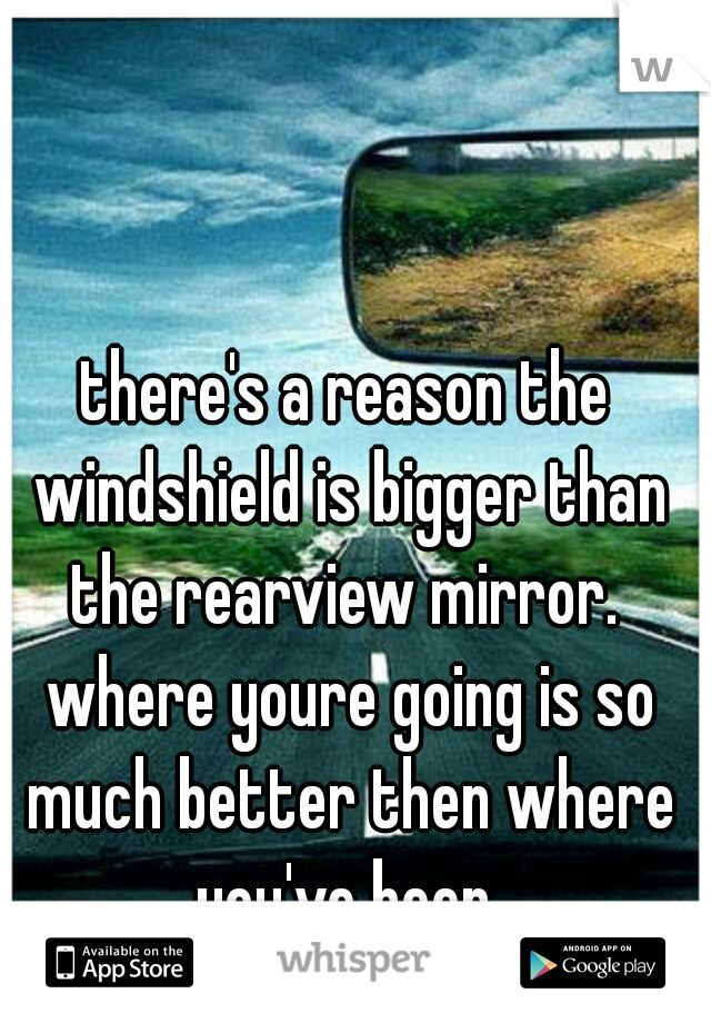 the windshield is bigger than the rearview mirror where ...