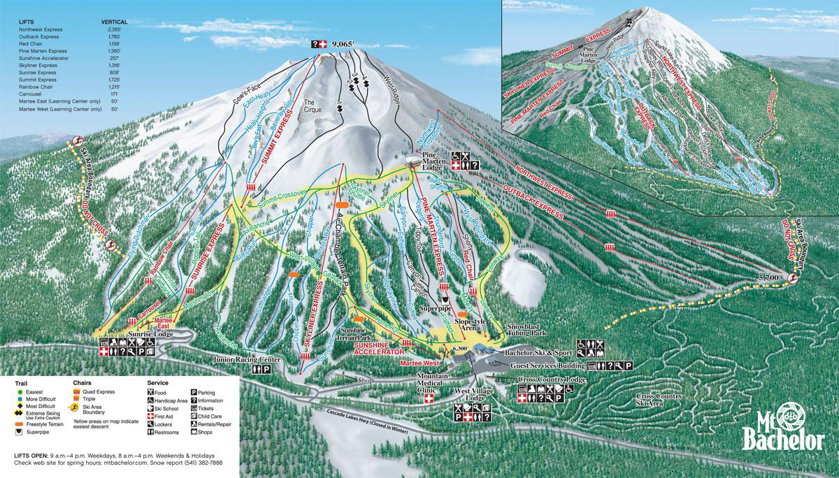 Map Of Oregon Mountain Ranges%0A Mt  Bachelor Ski Resort  Mt Bachelor Trail Map  and maybe a little time  here with friends while we visit Bend      Snowsports and Camping    Pinterest