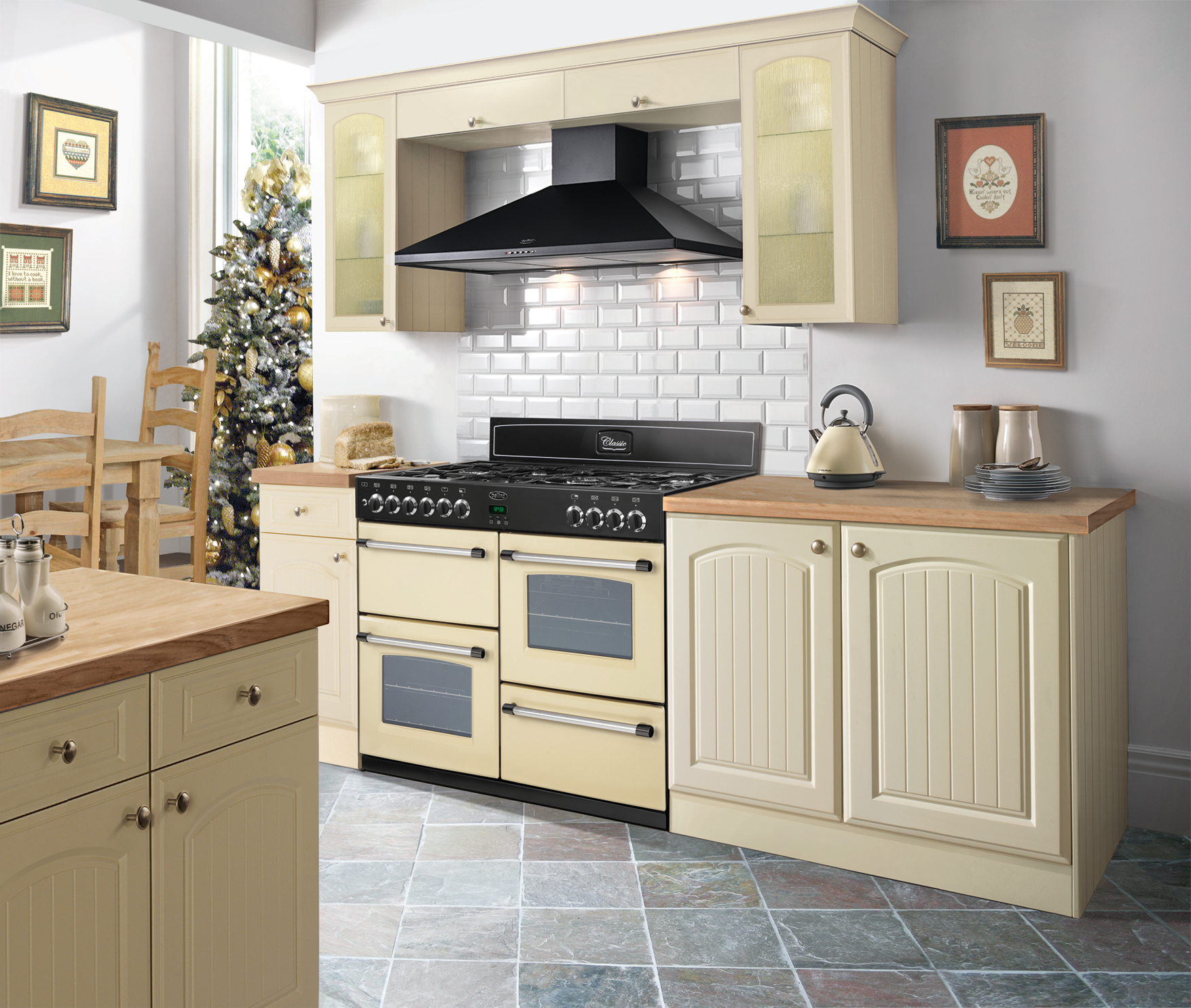 Belling Classic Range Cooker In An Inspirational Cream Kitchen With Wooden  Worktops And Stone Tiled Floor.