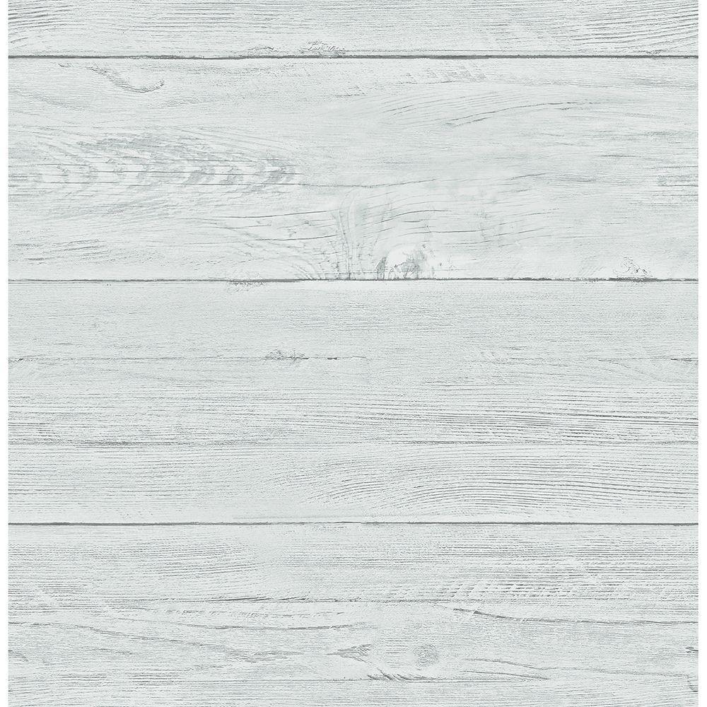 Brewster Aqua White Washed Boards Shiplap Wallpaper, Blue