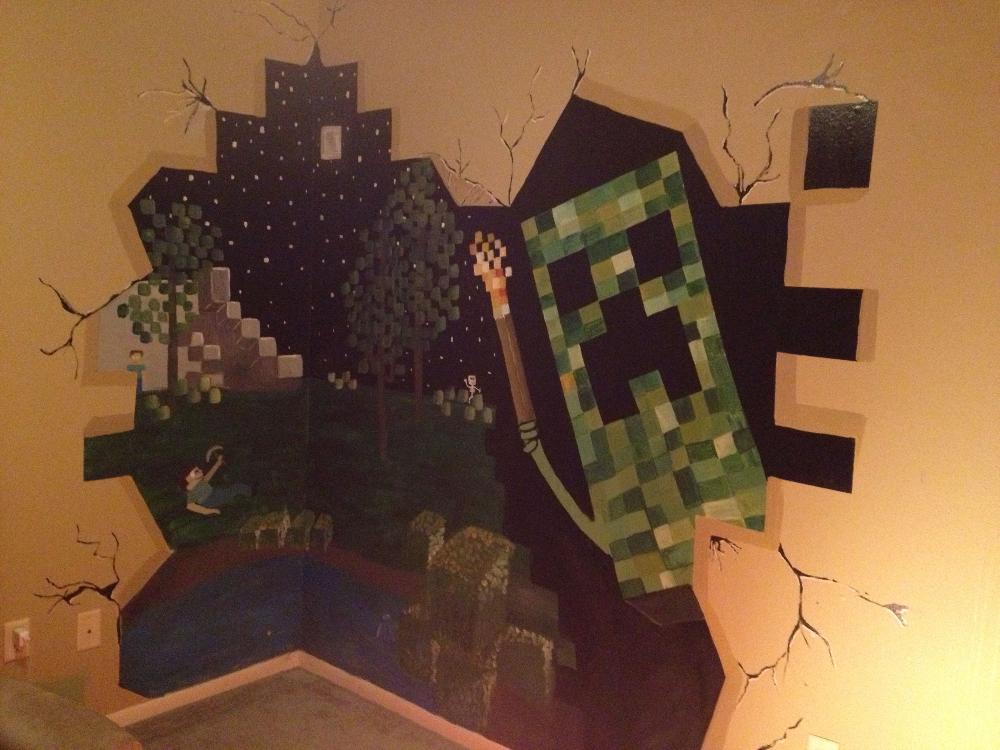 Minecraft mural for my sons room.