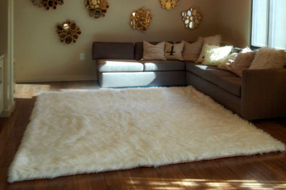 10 X 12 White Gy Fur Faux Rug Rectangle Shape Plush Soft Modern Living Room Area