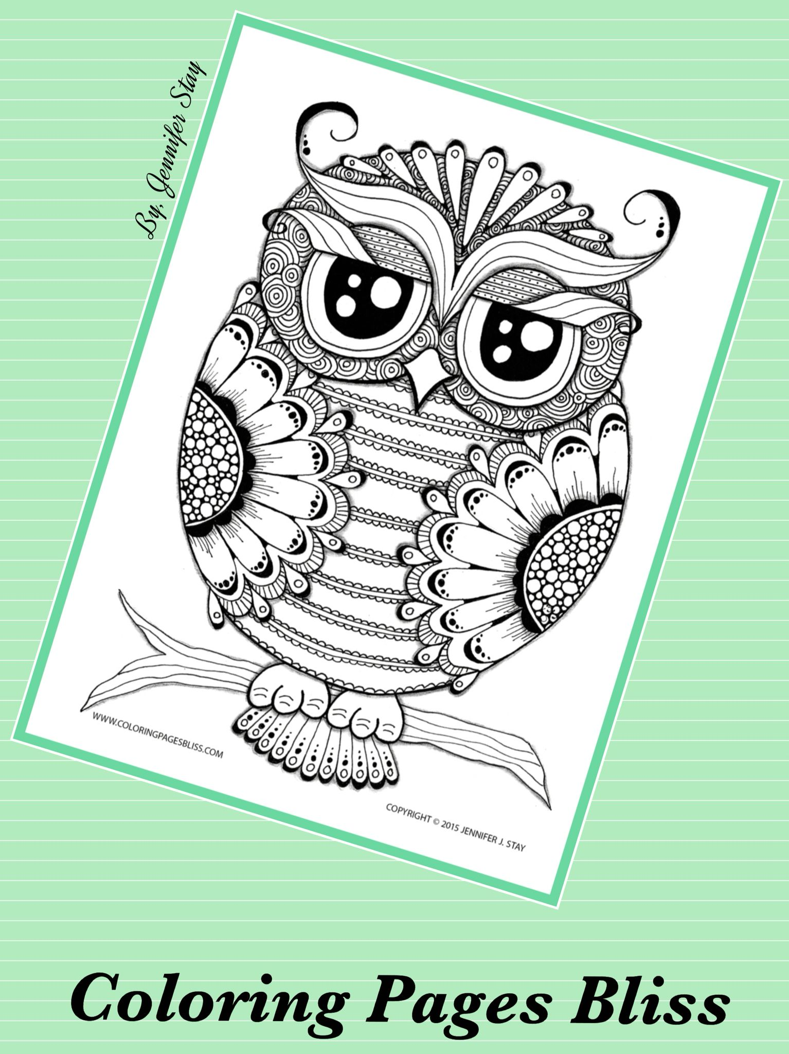 New Bird Inspired Coloring Pages | Bliss, Owl and Adult coloring