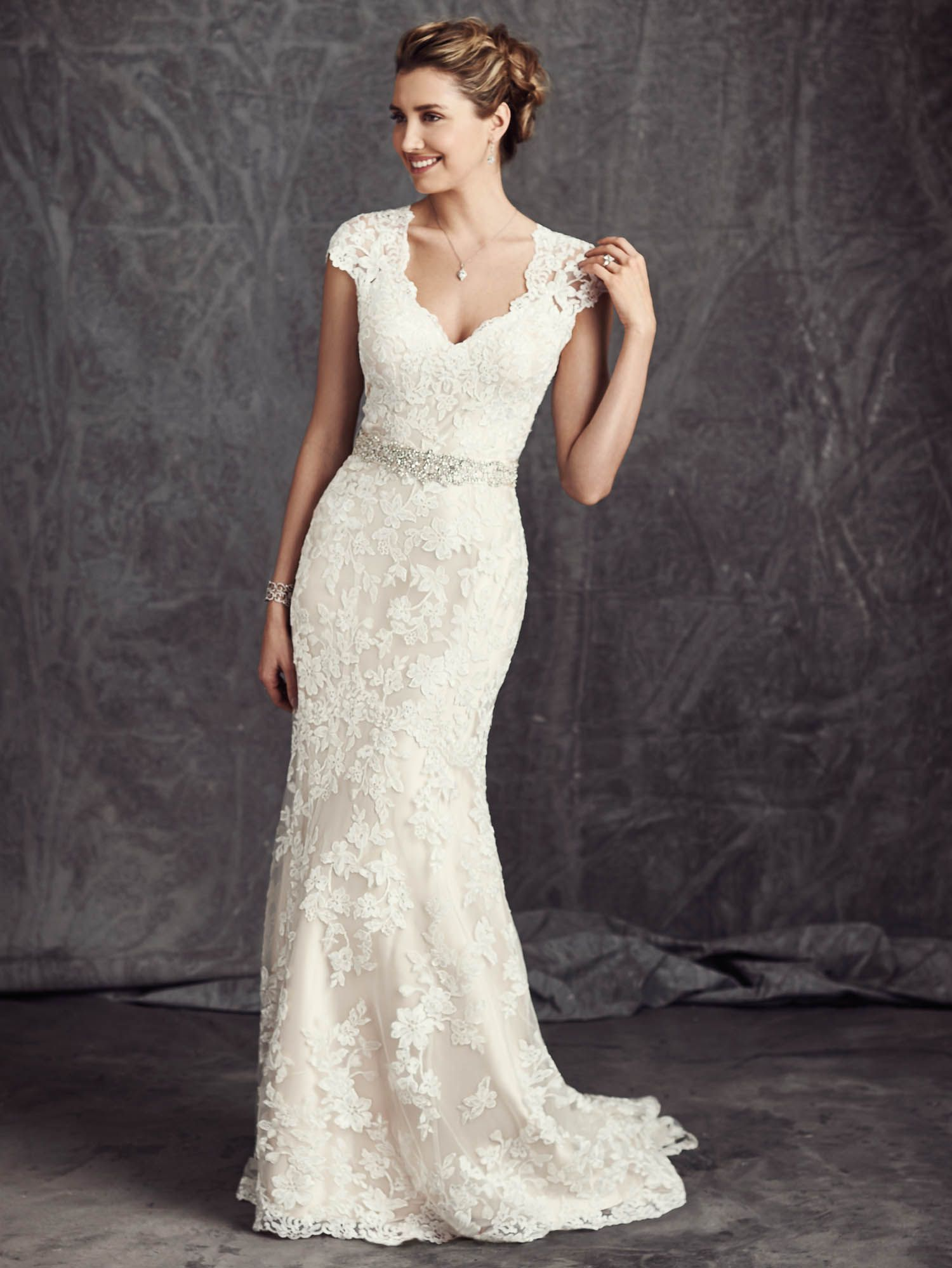 Ella Rosa Style Be277 Sheath Off The Shoulder Dropped Waist Sweep Train Material Short Sleeve Wedding Dress Wedding Dresses Sheath Wedding Dress Lace [ 1999 x 1500 Pixel ]