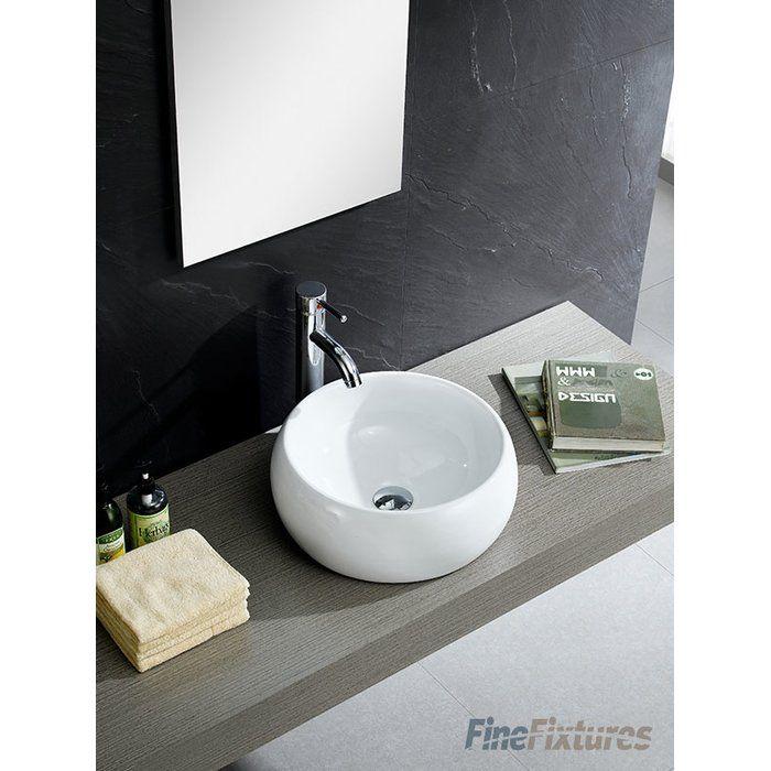 Modern Ceramic Circular Vessel Bathroom Sink Sink White Vessel Sink Bathroom Decor