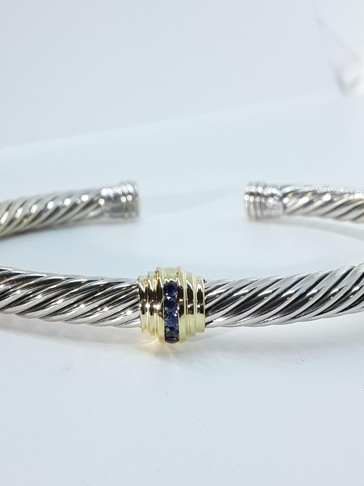 Classic david yurman 5mm single station cable bangle bracelet with blue sapphire