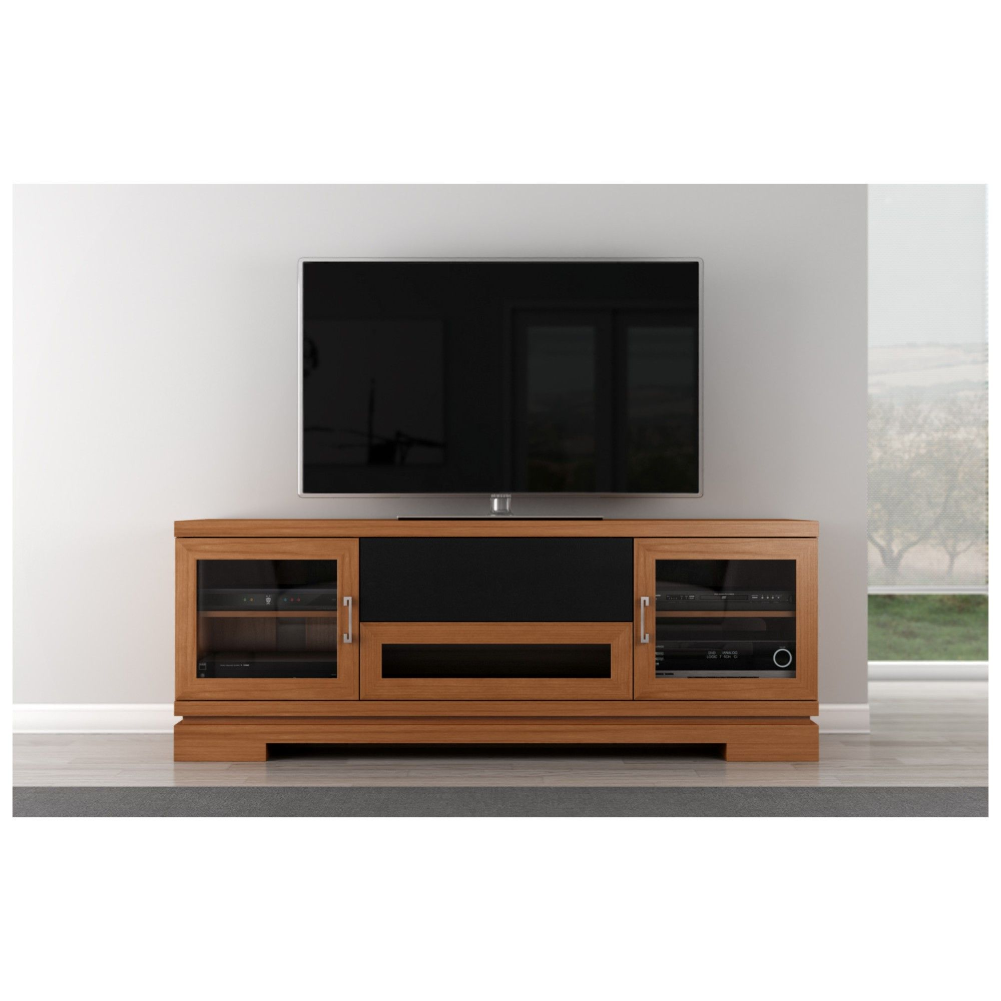 70 Tv Stand Contemporary Media Cabinet W Center Speaker Opening In