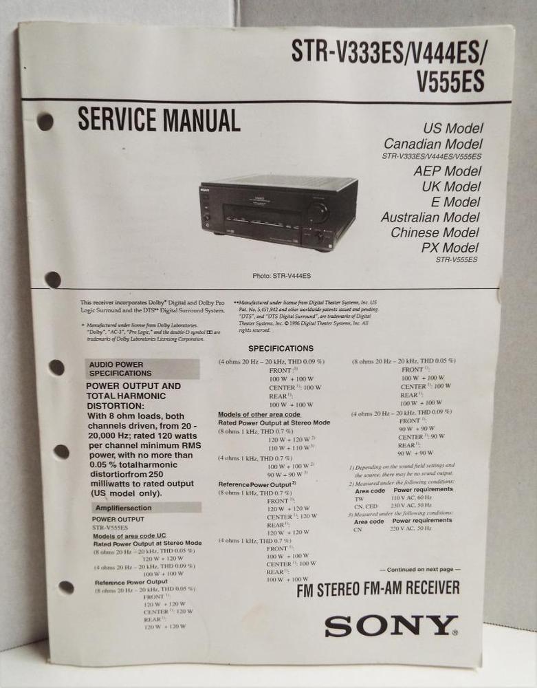 Sony Service Manual Str V333es Str V444es Str V555es Stereo Home Theater Sony Home Theater Stereo Home Theater Setup