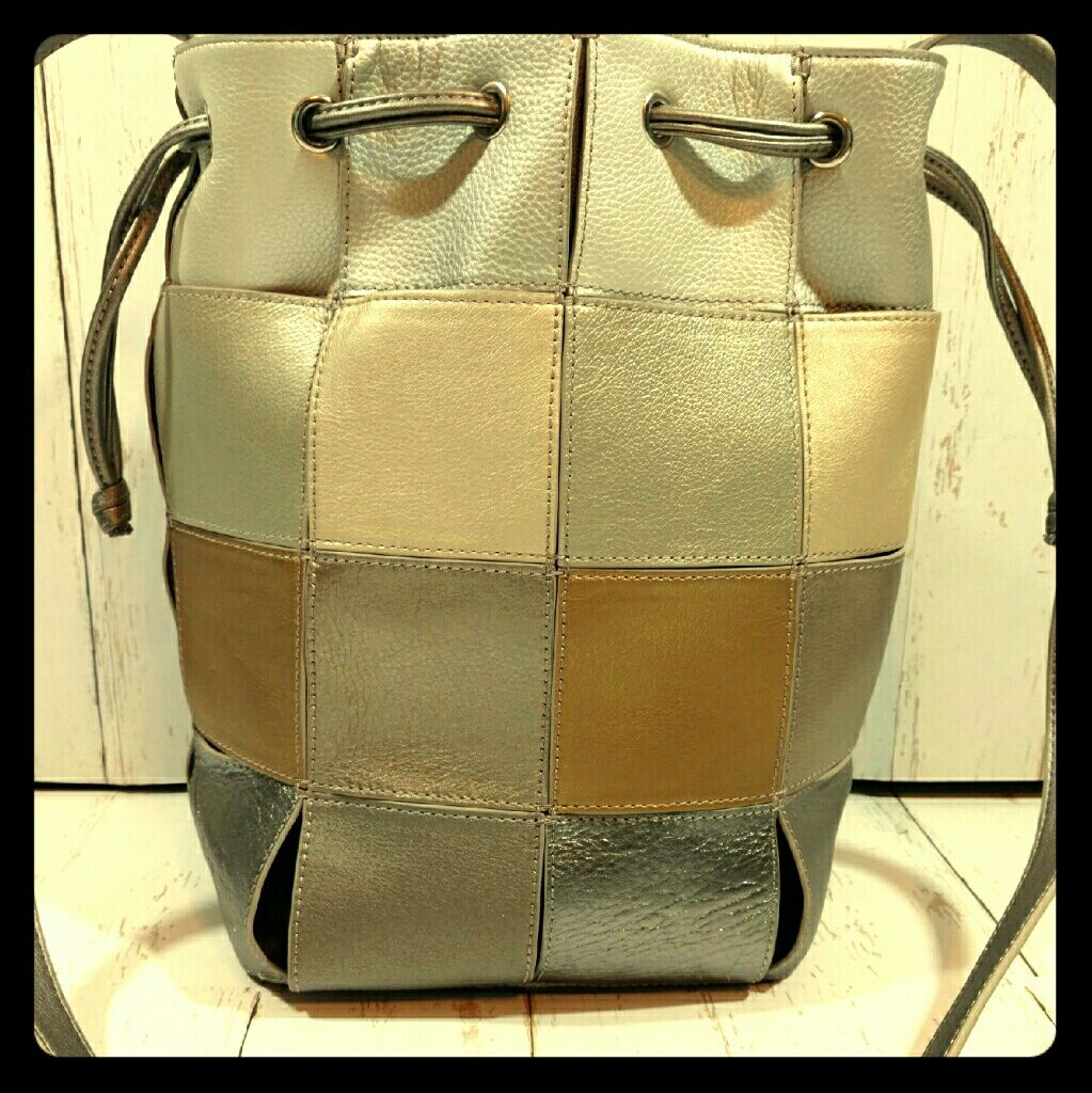 Chi By Carlos Falchi Metallic Block Bucket Purse Products