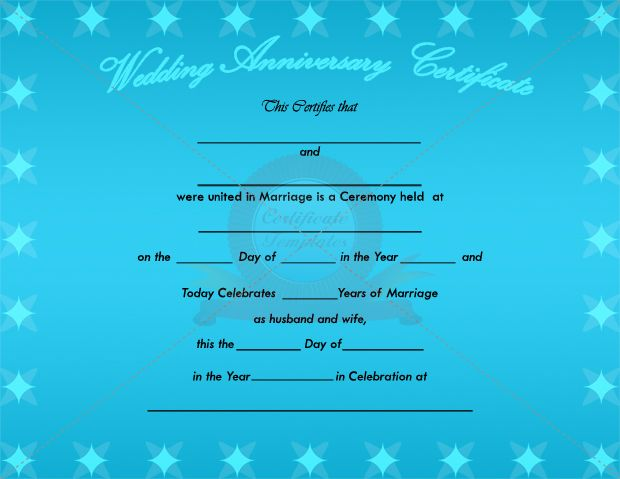 Wedding Anniversary Certificate Template ADOPTION CERTIFICATE