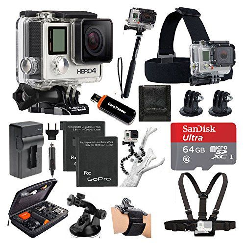 GoPro HERO4 SILVER Edition Camera HD Camcorder With Deluxe Carrying Case   Head Strap   Chest Strap   Suction Cup Mount   Wrist Strap Band  Monopod   64GB SDXC MicroSD Memory Card Complete Deluxe Accessory Bundle