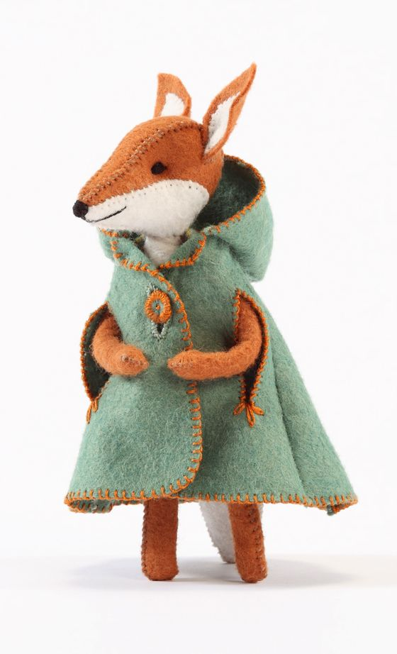 Charlotte Fox in a fashionable cloak by Cynthia Treen Studio