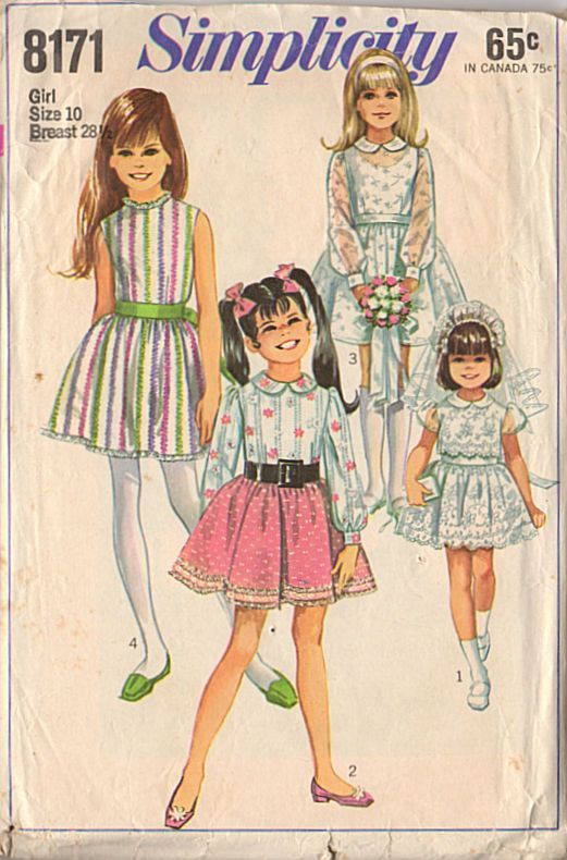Vintage 1960s Girls Size 10 Dress Simplicity Sewing Pattern 8171 ...