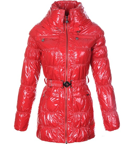 Moncler Womens Down Coats Skinny Zip Decorative Belt Red
