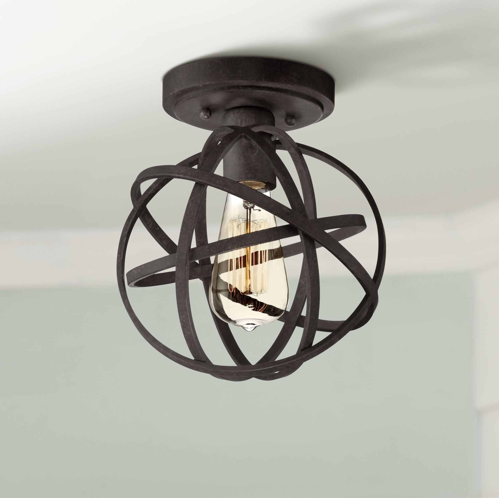 franklin iron works rustic industrial ceiling light semi flush mount fixture led edison atomic black 8 wide for bedroom kitchen walmart com lights outdoor fan with and remote lowes