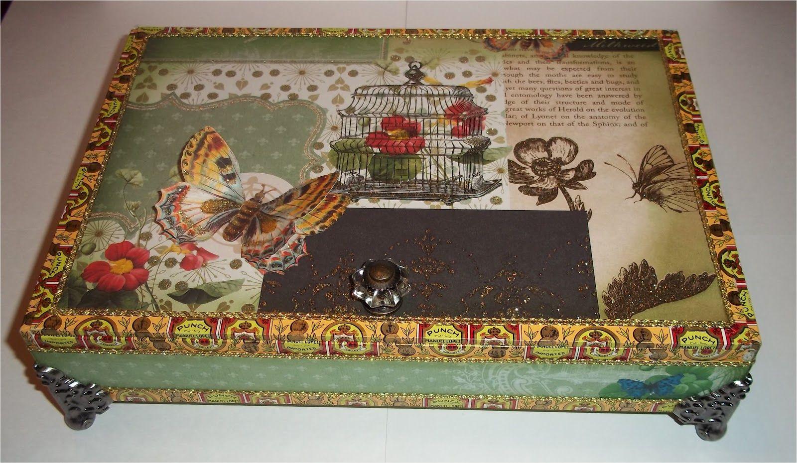 Paper paws etc decorative cigar box 2 crafts ideas for Cardboard cigar box crafts