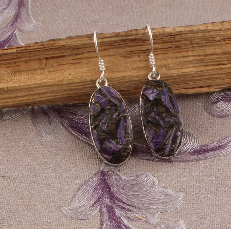 Handcrafted Earring With Natural Amethyst AAA+Quality Gemstone Cabochon Stone Boho Earring 925-Sterling Solid Silver Earring ETSYCYBER2018