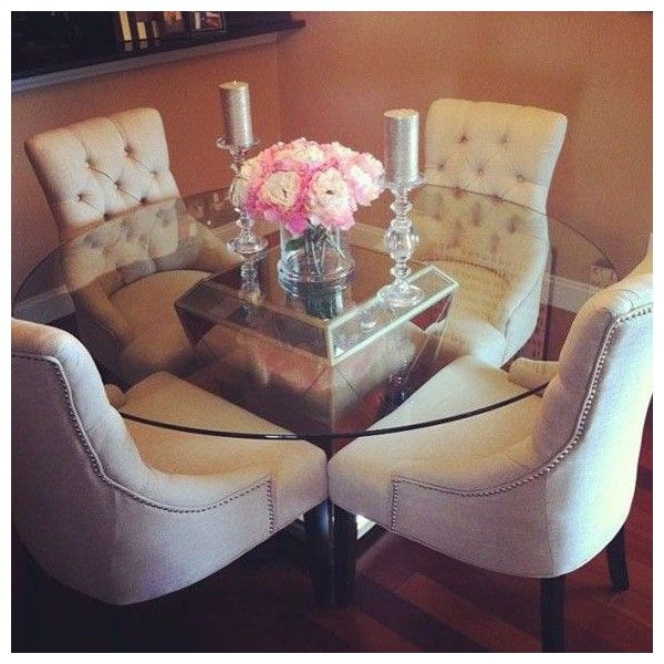 Cozy 4 Seater Round Glass Dining Table Like Pinterest Liked On Polyvore Featuring Home Furniture Tables Dini Dining Room Decor Home N Decor Home Decor
