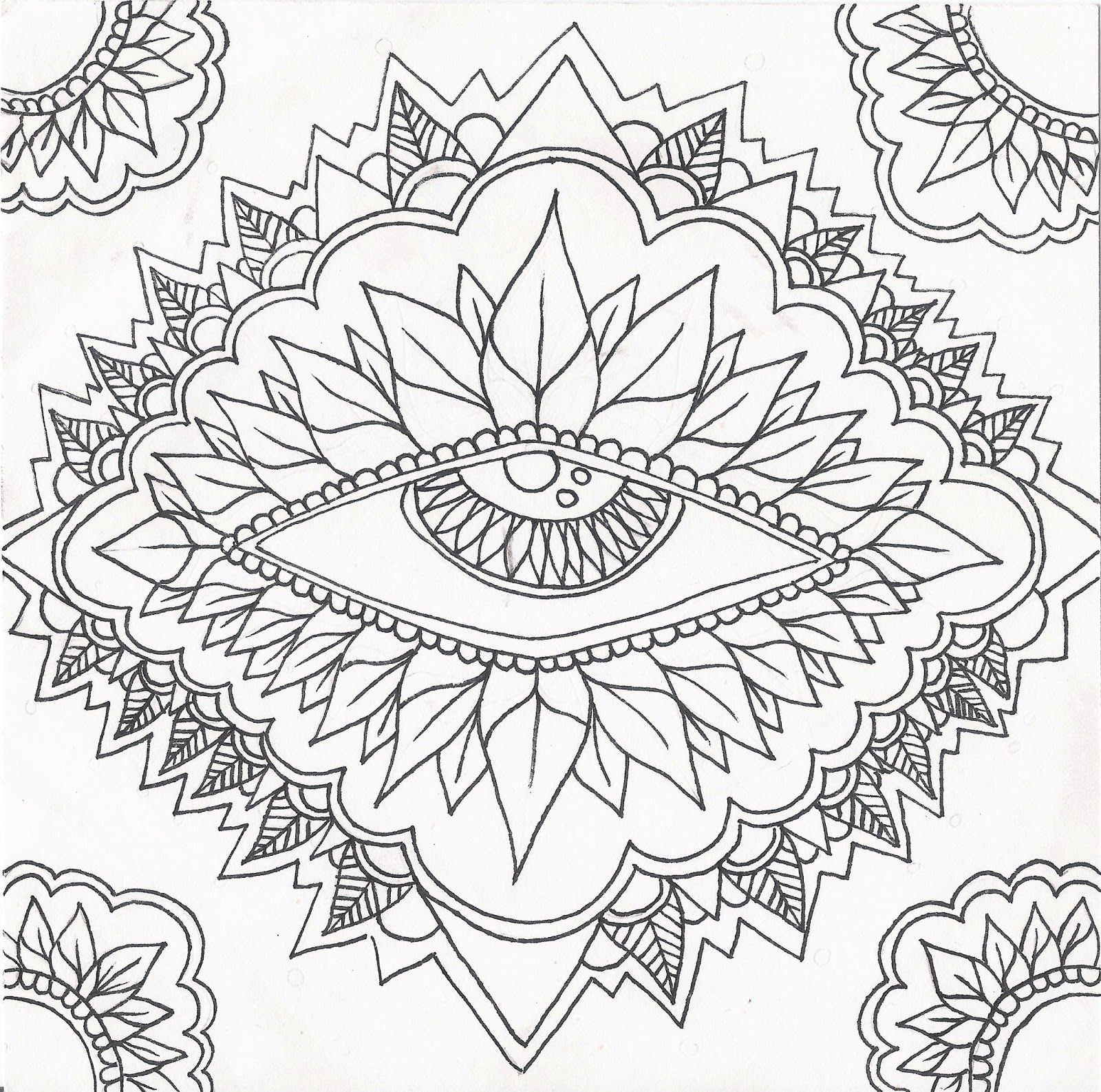 This Eye Mandala Begs For Color With Images Abstract Coloring