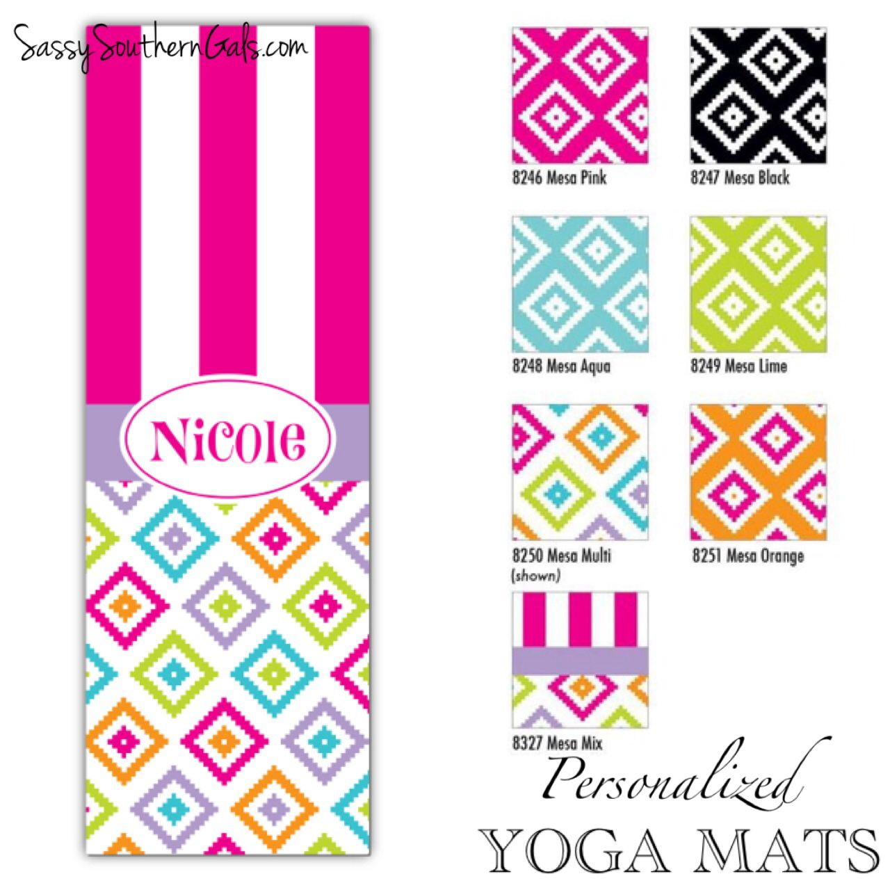 Monogrammed / Personalized Yoga Mat - Design Your Own, choose from ...