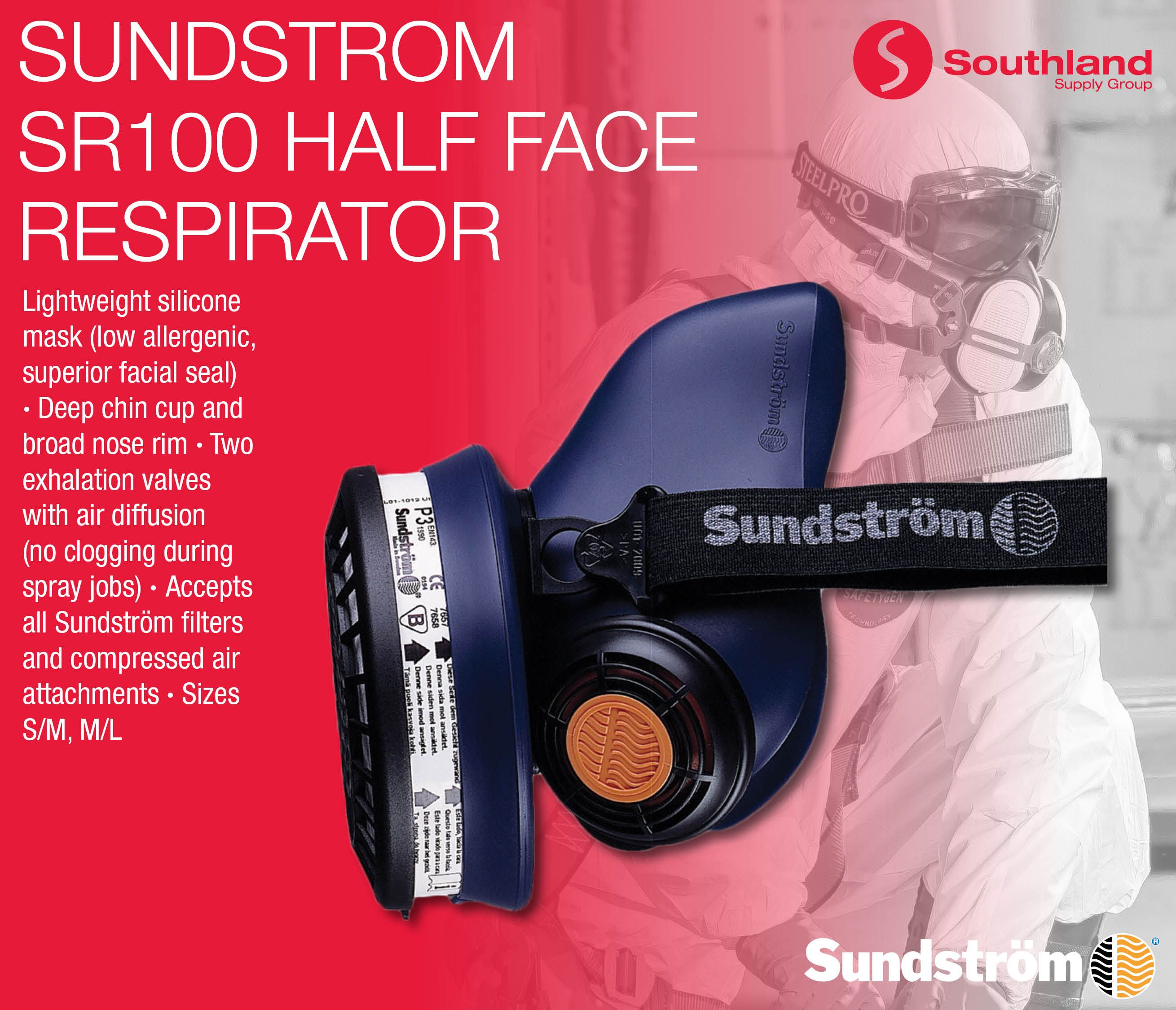 Sundström Safety AB SR100 Half Face Respirator Lightweight