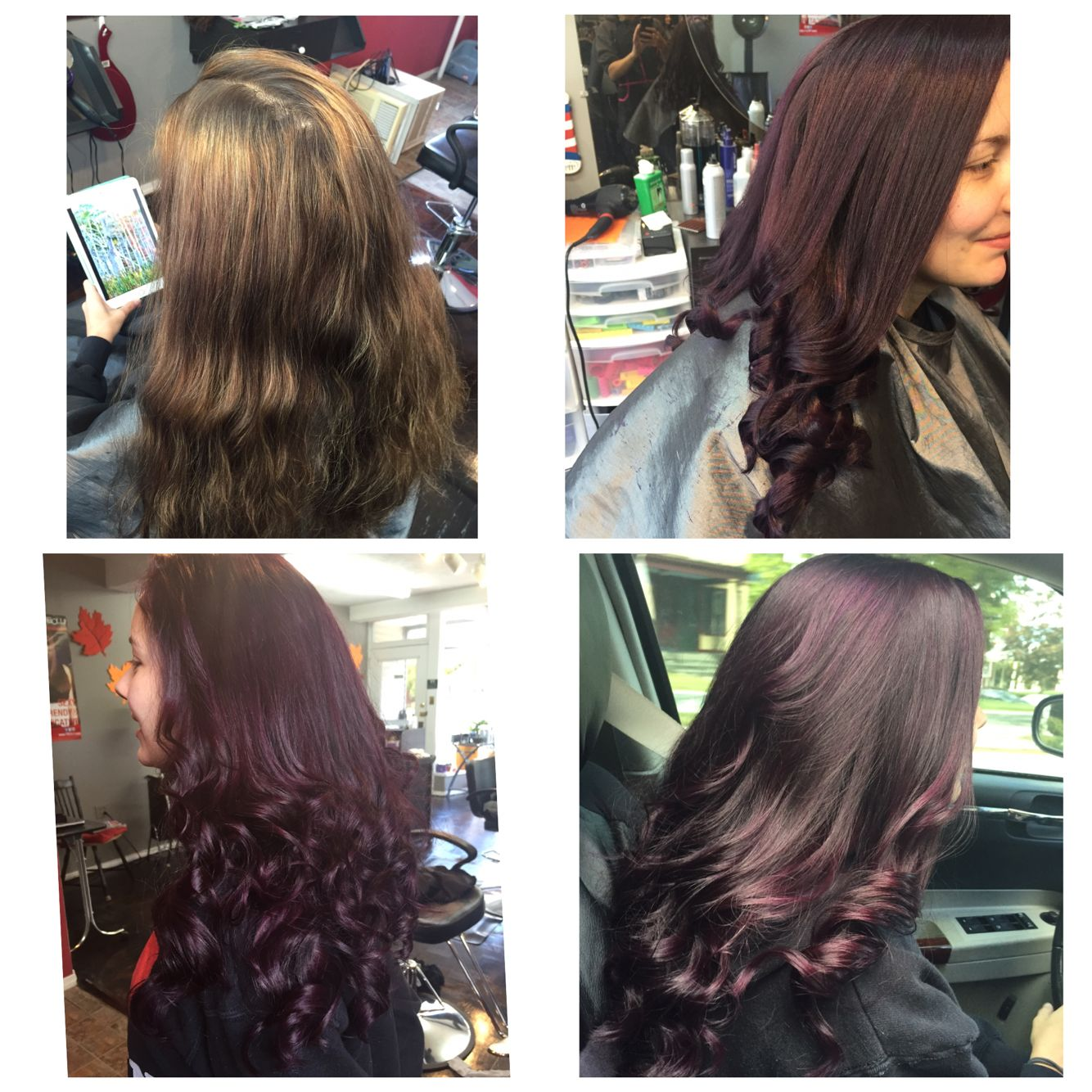 Before and after. Purple.
